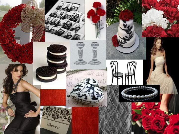 Black, white, & red wedding Finally one with all three colors together!!!!
