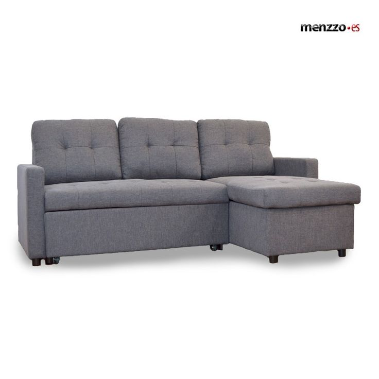 469€ Sofá Cama  Toledo, tela efecto lino gris osc - Menzzo.es
