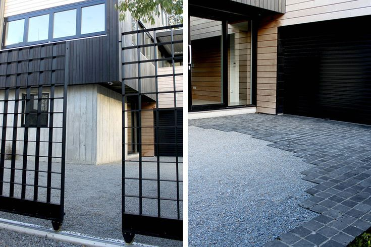 Steel lattice double gates lead into gravel driveway and cobble paved front door.