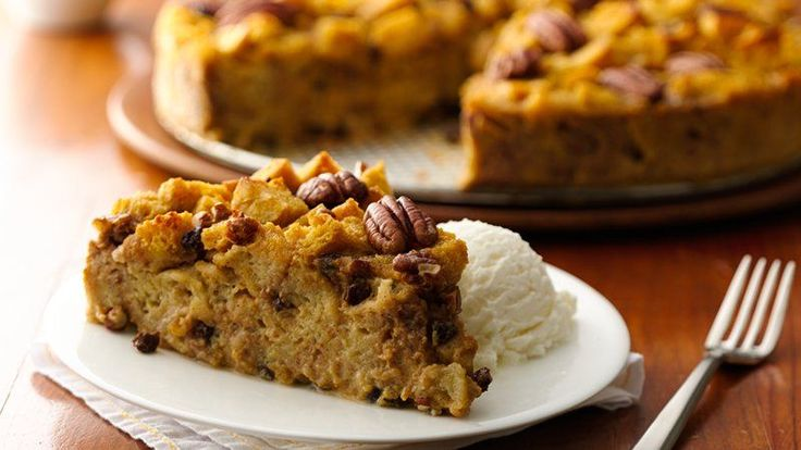 All the flavors of pumpkin pie--plus a few yummy extras--go into this soothing bread pudding.