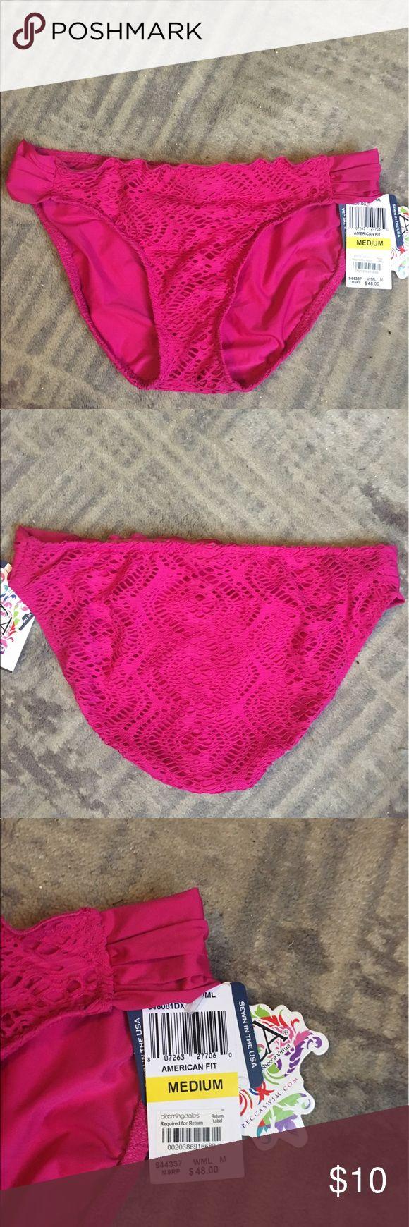 Becca hot pink bikini bottom Got pink full coverage crochet bikini bottom. New with tags. BECCA Swim Bikinis