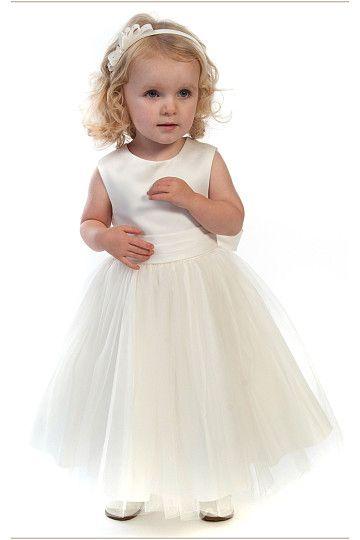 White Zipper Princess Chiffon Flower Girl Dresses