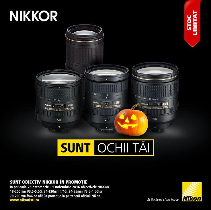 In perioada 25 octombrie - 01 noiembrie 2016 obiectivele NIKKOR 18-200mm f/3.5-5.6G, 24-120mm f/4G, 24-85mm f/3.5-4.5G si 70-200mm f/4G se afla in promotie la partenerii oficiali Nikon.