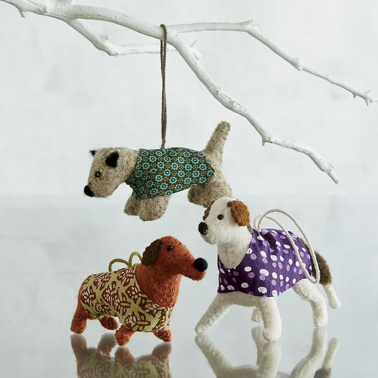 Felt Dog Christmas Tree Ornaments | The Company Store: Felt Dogs, Holiday Ornaments, Dogs Felt, Christmas Decor, Christmas Trees, Dog Ornaments, Christmas Tree Ornaments, The Company Store