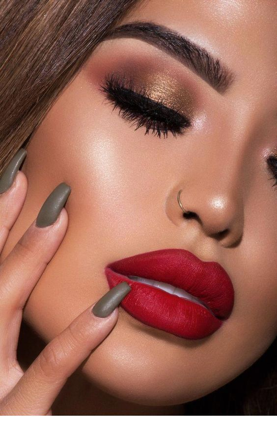 The Perfect Red Lips And Olive Nails In 2019 Red Lip Eye Makeup