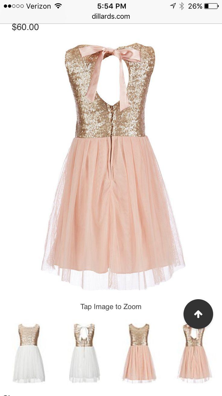 Rose gold flower girl dress! Modest & mature.