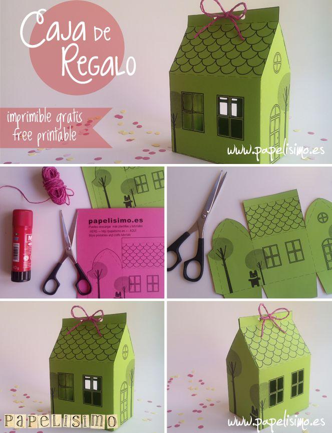 Caja de regalo casa con plantilla gratis | http://papelisimo.es/caja-casa-papel/