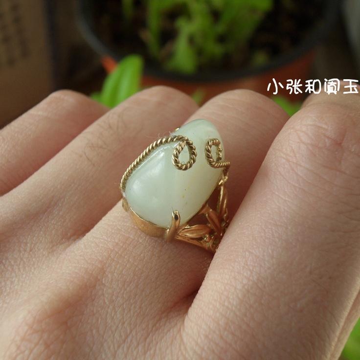 小张和田白玉18K金镶玉籽料戒指3