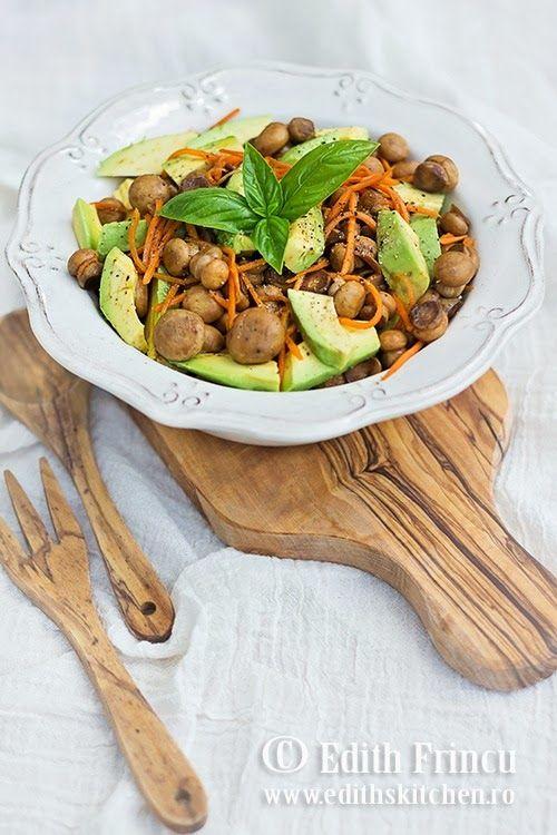 mushrooms avocado and carrot salad with garlic, soy sauce and vinegar