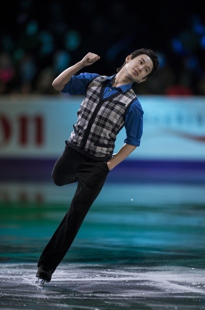 Denis Ten of Kazakhstan performs during the exhibition program at the 2013 World Figure Skating Championships on March 17, 2013 in London, Ontario, Canada. Gold, silver and bronze medalists of the championships as well as invited skaters performed in the post-competition exhibition.