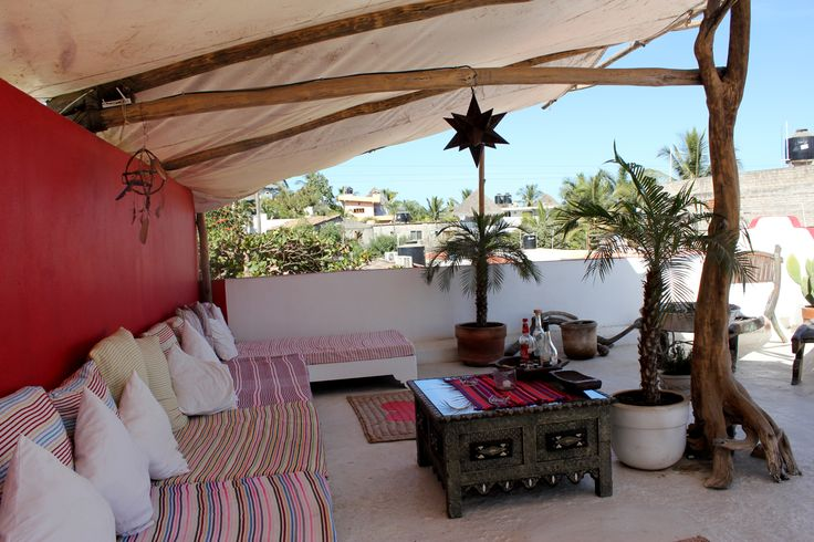 Pulled from Mexican, Mediterranean and Moroccan influences: Rattan furniture, hanging lanterns, beautiful blankets handcrafted in Chiapas is the Petit Hotel d'Hafa in Sayulita, Mexico.