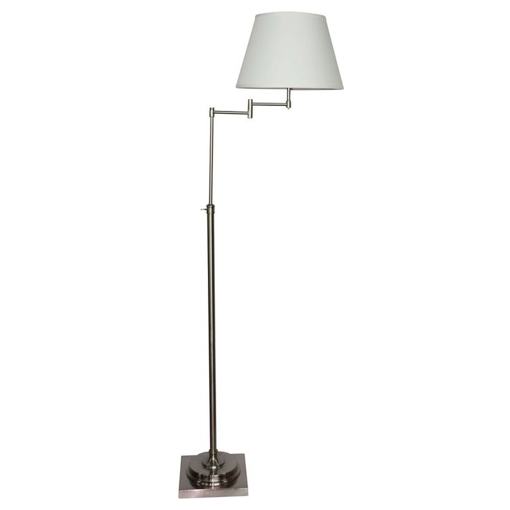 Shop allen + roth Hillam 64-in Brushed Nickel Shaded Indoor Floor Lamp with Fabric Shade at Lowes.com
