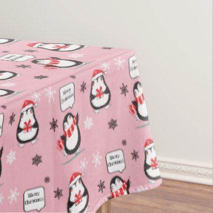 Merry Christmas Penguin pink Holiday Tablecloth - Xmas ChristmasEve Christmas Eve Christmas merry xmas family kids gifts holidays Santa