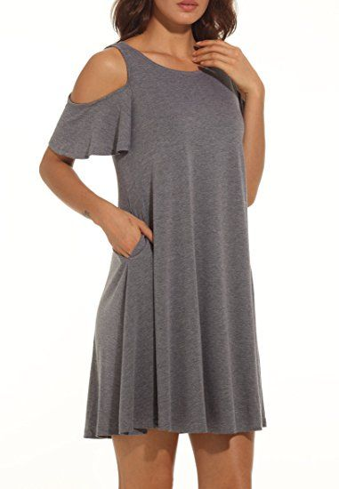 37eb115cde02 Under  19 Women s Summer Cold Shoulder Tunic Top Swing T-Shirt Loose Dress  With Pockets