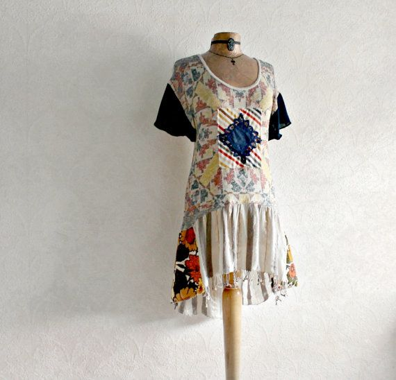 Boho Chic Tunic Eco Friendly Clothes Beige by BrokenGhostClothing,