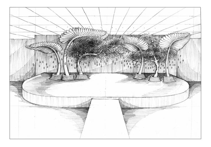 Hand sketched perspective by Nhelskie