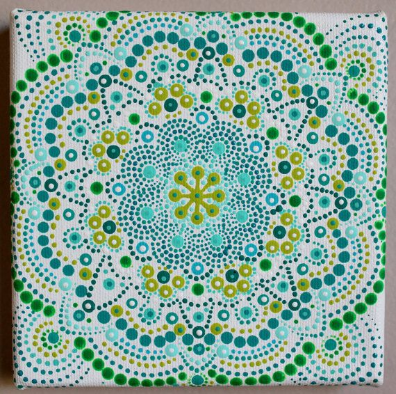 Stip schilderen acryl miniatuur originele kunst Mandala