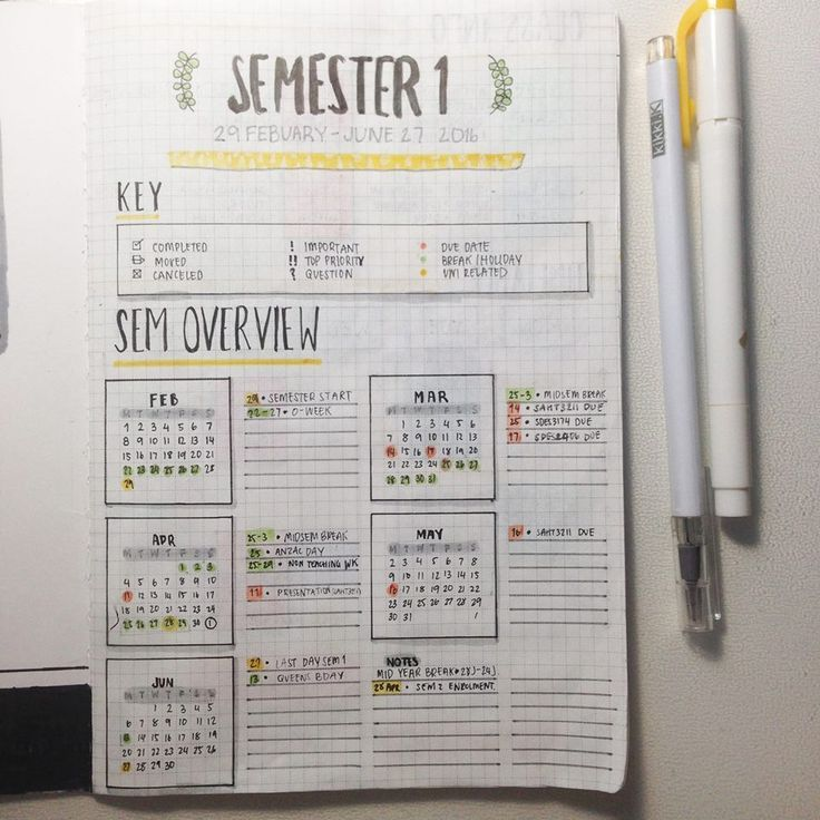 Semester Overview #semester #layout #spread #bulletjournal #bujo courtesy