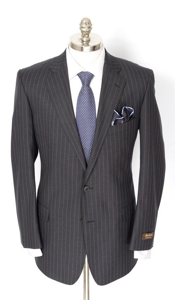 SOUTHWICK Gray Pinstripe All Season Super 130's 2Btn Flat Front Suit  |  Find yours! http://www.frieschskys.com/suits  |  #frieschskys #mensfashion #fashion #mensstyle #style #moda #menswear #dapper #stylish #MadeInItaly #Italy #couture #highfashion #designer #shopping