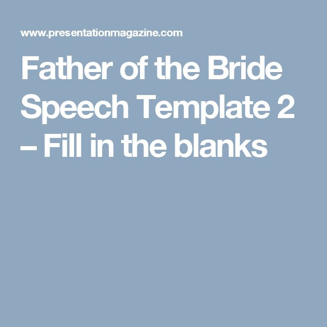 Father Of The Bride Speech Template 2