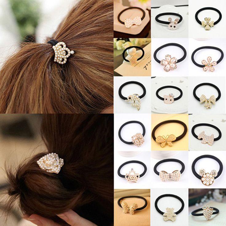 Princesa linda corona perla simulada/cat/flor/corazón/arco/sostenedor del ponytail de la cuerda elástico del pelo del conejo/los lazos de la banda accesorios para el cabello