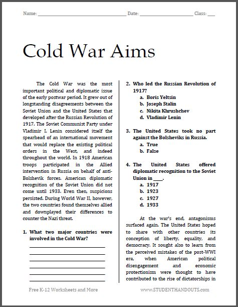 Cold War Aims : Free printable worksheet for high school ...
