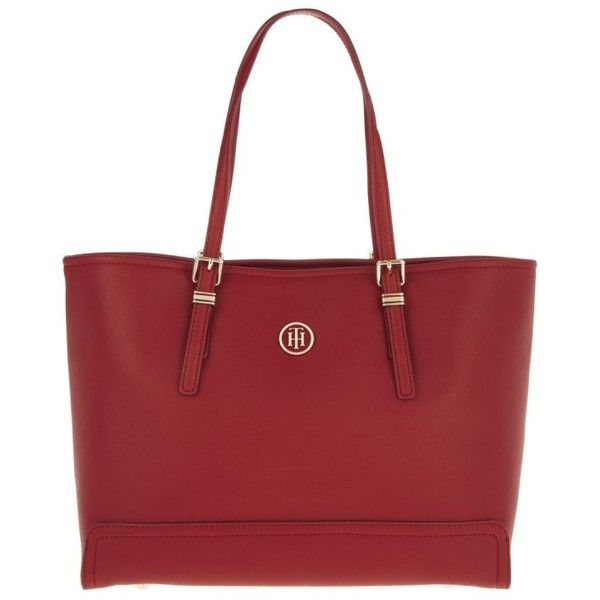 Tommy Hilfiger Honey Medium Tote Red in red, Handle Bags ($165) ❤ liked on Polyvore featuring bags, handbags, tote bags, red, logo tote bags, red tote bag, tommy hilfiger handbags, tommy hilfiger tote bag and top handle bags