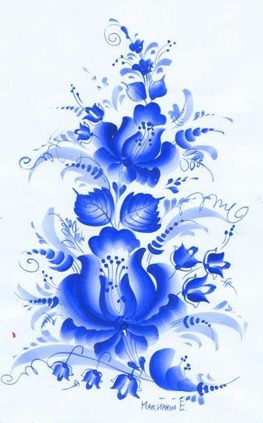 Folk Gzhel painting from Russia. A floral pattern. #folk #art #Russian #patterns