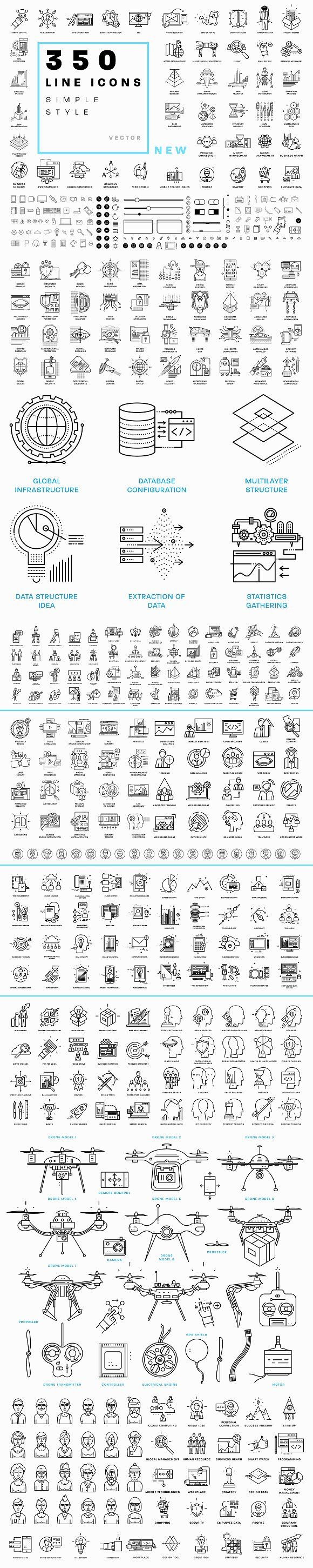 +350 Line Business Icons Collection by Anna Ozerina on @creativemarket