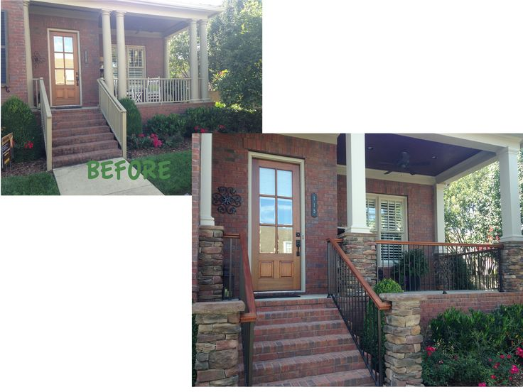 Complete porch make over including mahogany rail