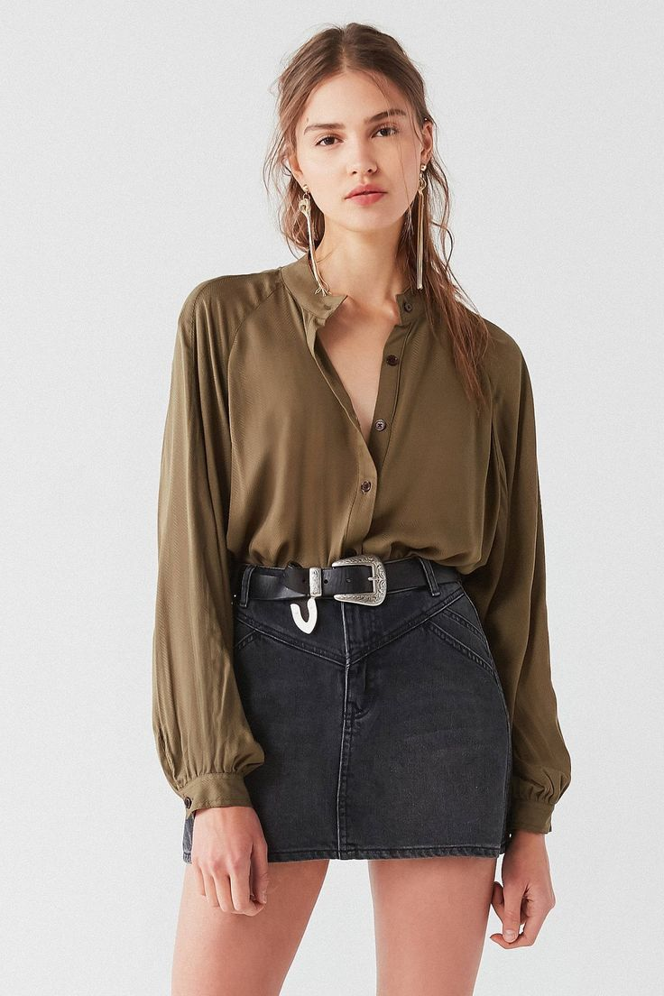 UO Nat Collarless Button-Down Top | Urban Outfitters