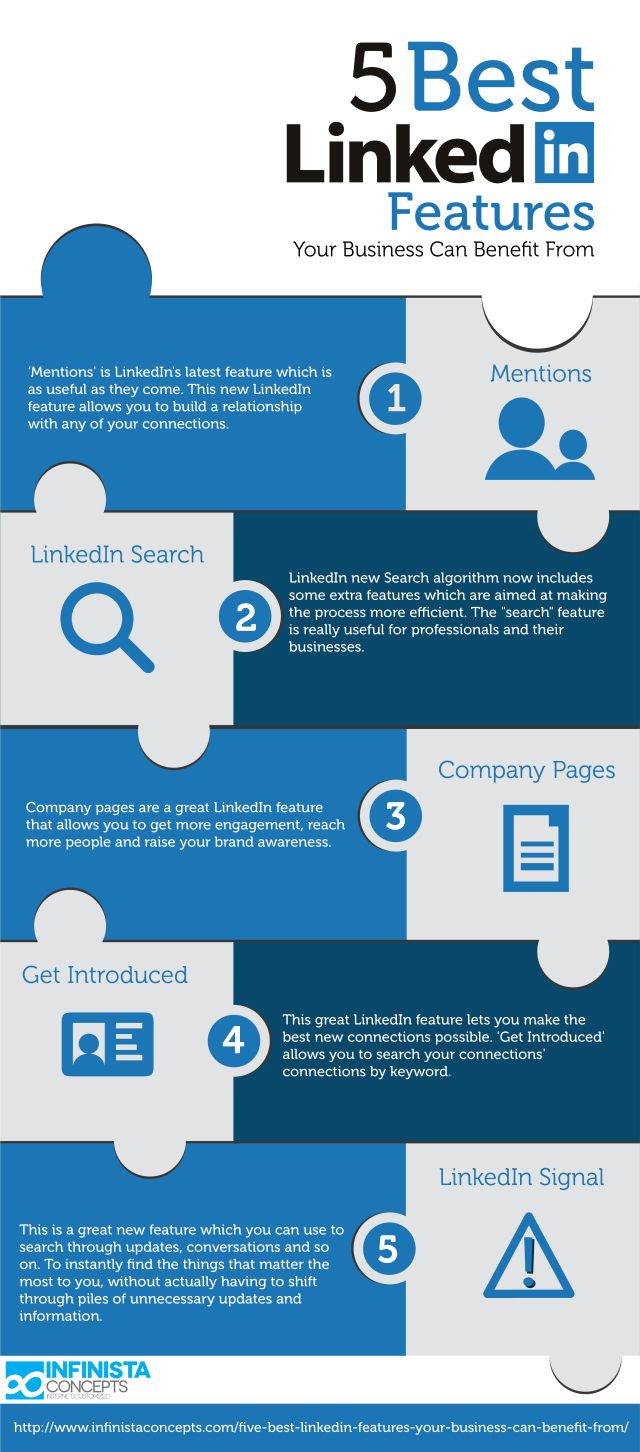 5 best #Linkedin features your business can benefit from #infografia #infographic #socialmedia