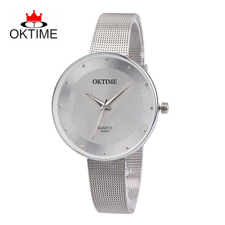 OKTIME Fashion Simple Watches Women Men Full Steel Mesh Rhinestone Minimalist  Clock Students Quartz Wrist Watch