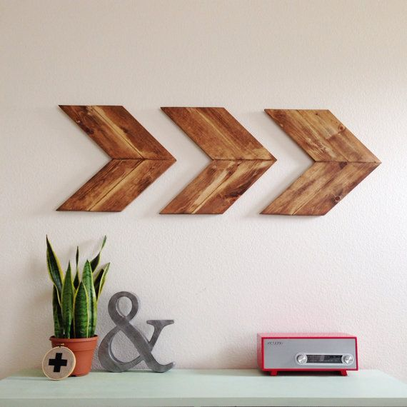 Unstained Wood Arrow Wall Art Chevron Home Decor by SparklePower