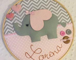 Quadro Maternidade Elefante Cinza e Rosa
