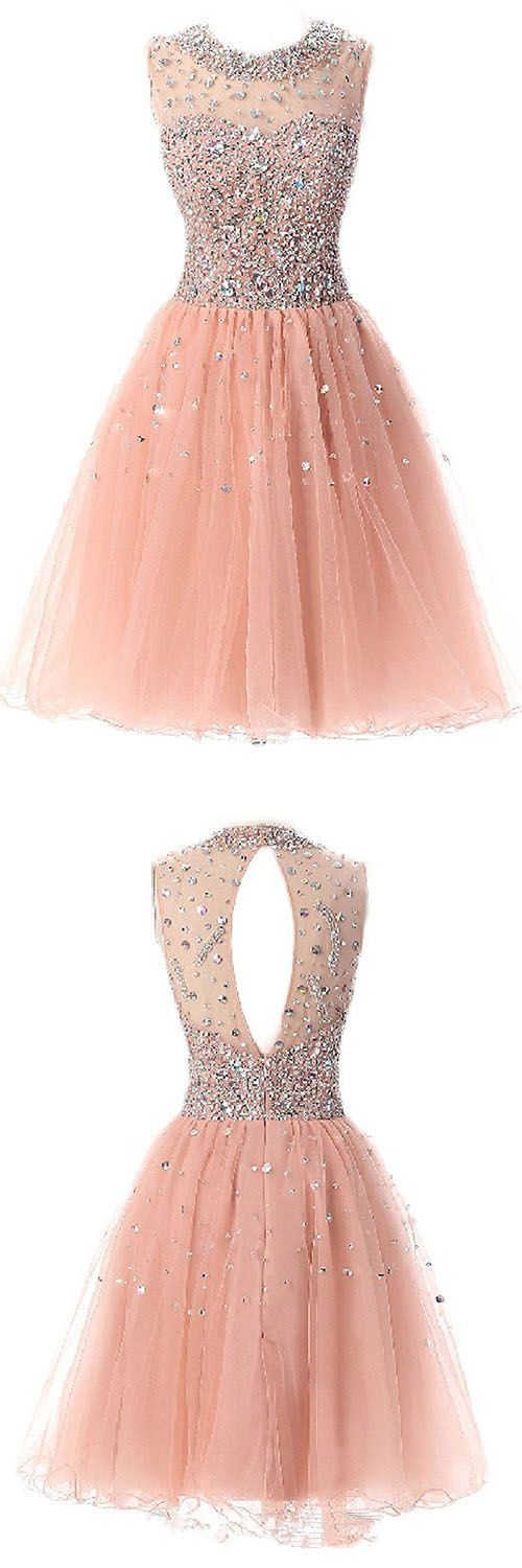 Pearl Pink Beaded Spark Tulle Homecoming Dresses, Cute Short Party Dresses, Sweet 16 Dresses, Teen Formal Dresses