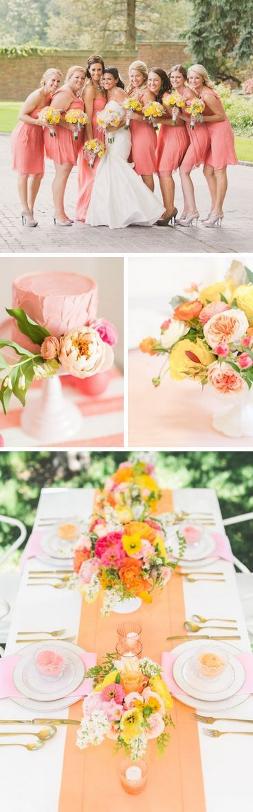 Coral and Yellow for bridesmaids - so summery!