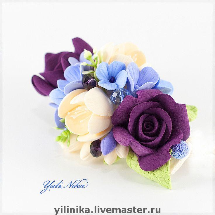 """Купить Заколка """" Розы и фрезия-2"""" - фуксия, сливовый, бордовый, розы, фрезии, гортензия"""