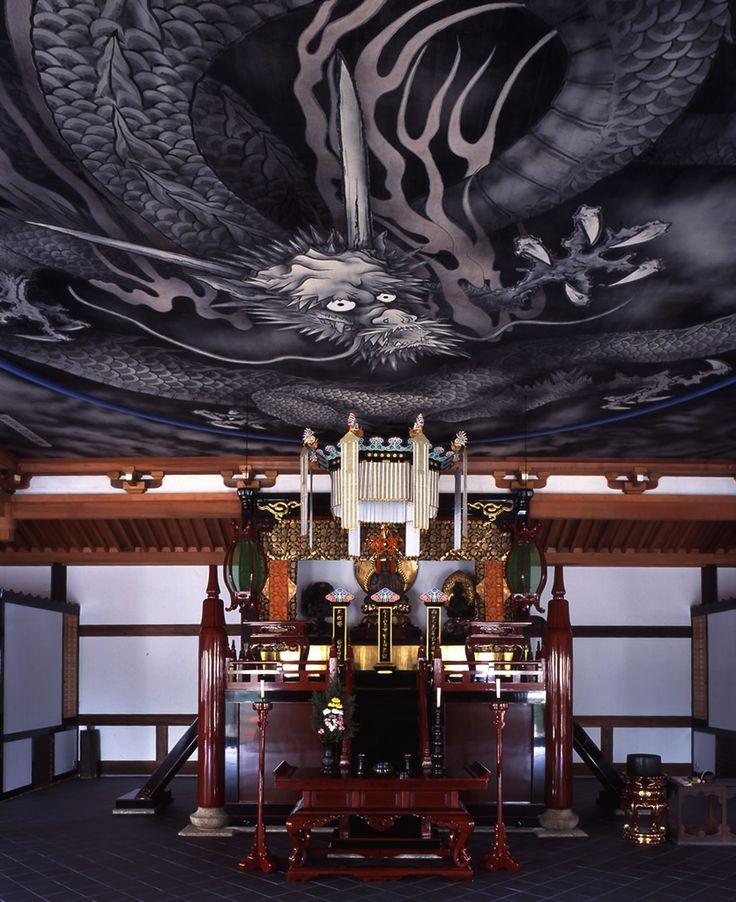 Ceiling paint of dragon by Matazo KAYAMA (1927-2004),  property of Tenryu-ji temple in Kyoto, Japan 加山又造 天竜寺雲龍図