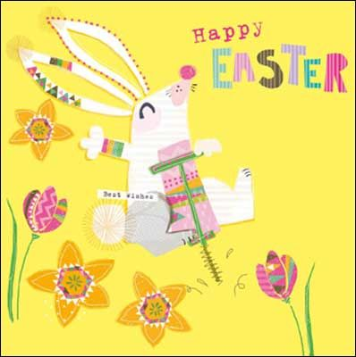 Bunny on a hopper #Easter card, finished with glitter varnish.