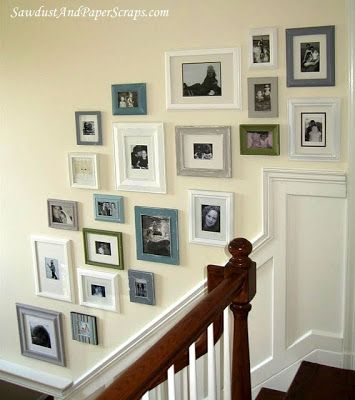 Mixed frames  Add chunky mattes - mixed colors, but all in a light palette. Mix of black and white and colors