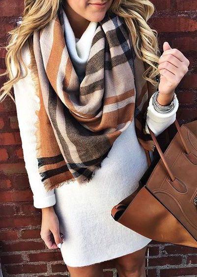 #winter #fashion / knit dress + pattern print scarf