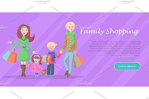 Family Shopping Cartoon Flat Vector Cartoon Cartoon kids Family