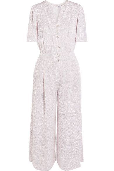 Temperley London jumpsuit. White and silver sequined tulle Button fastenings along front  100% viscose  Dry clean