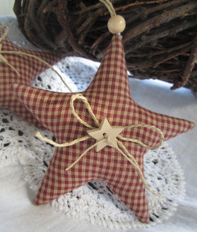 Baumschmuck: Stoff - Weihnachtsbaumschmuck Sterne im Landhaus - Stil - ein Designerstück von Feinerlei bei DaWanda