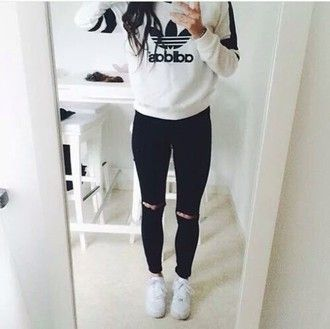 sweater adidas tumblr tumblr outfit black and white black white fashion streetwear urban outfit outfit idea fall outfits fall sweater