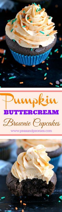 Pumpkin Brownie Cupcakes - These pumpkin brownie cupcakes are dense, rich and chocolaty, topped with a creamy and smooth pumpkin puree buttercream they are the perfect fall treat - Peas and Peonies