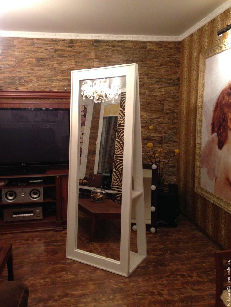 Купить Зеркало напольное NEWFANGLED. - белый, зеркало, зеркало напольное, зеркало из дерева, зеркало с полками