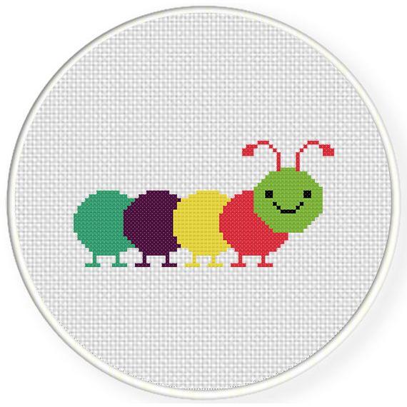 FREE Colorful Caterpillar Cross Stitch Pattern