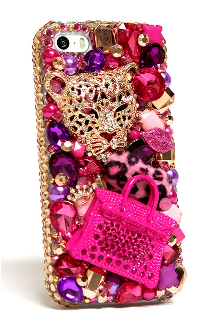 iPhone 5 5s 5c Cases Cheetah and Purse 3D Design Cool protective colorful phone cover for girls